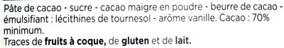 Dégustation noir 70% de cacao intense - Ingrédients - fr
