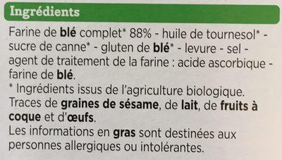 Biscottes Complètes Bio - Ingrédients - fr