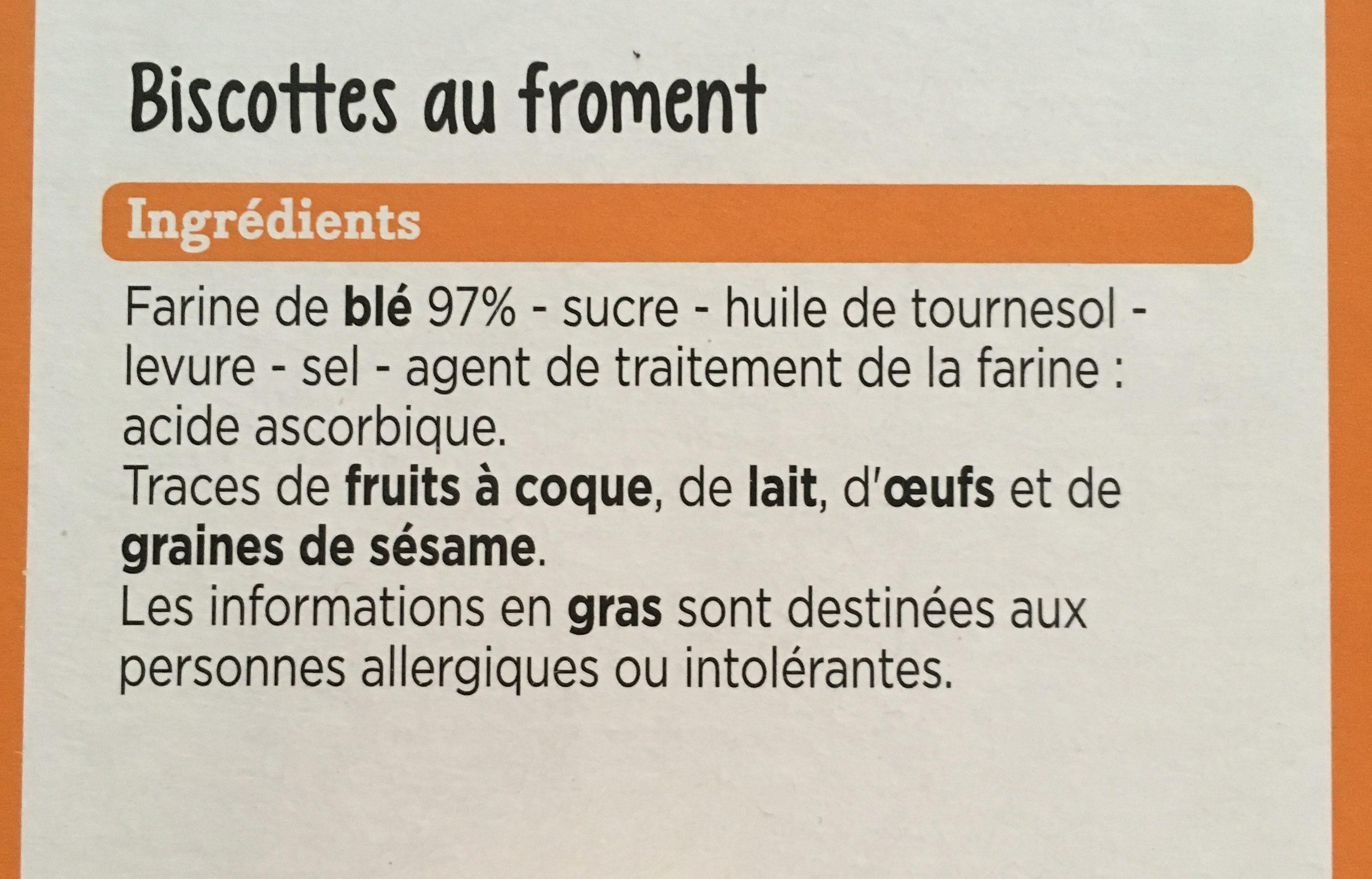 Franprix biscottes au froment - Ingrédients - fr