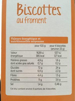 Franprix biscottes au froment - Informations nutritionnelles - fr