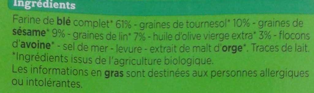 Crackers 3 graines - Ingrediënten - fr