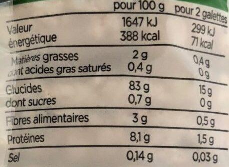 Galettes de Riz Complet - Voedingswaarden - fr