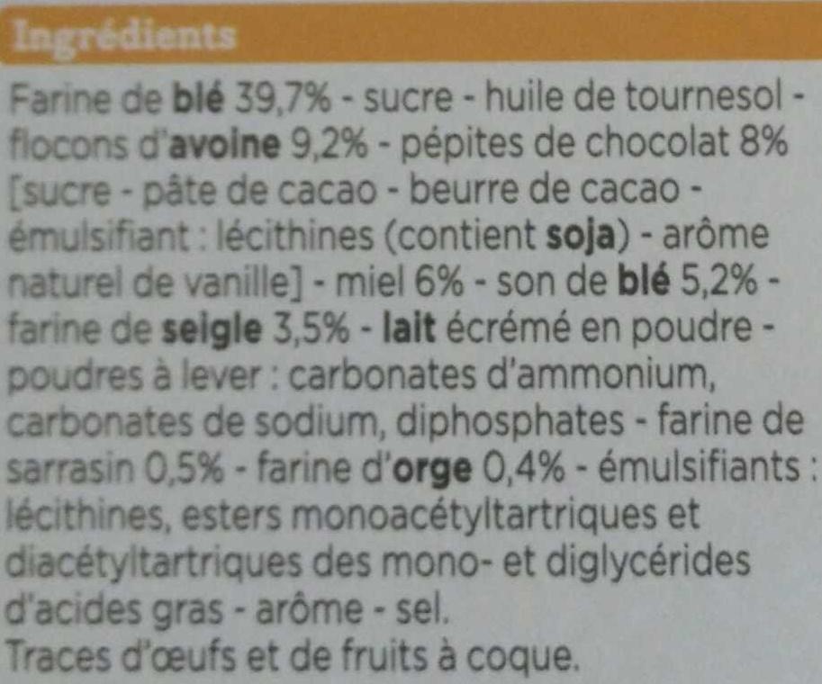 Biscuits Petit Déjeuner Miel, Céréales et Pépites de Chocolat - Ingredients