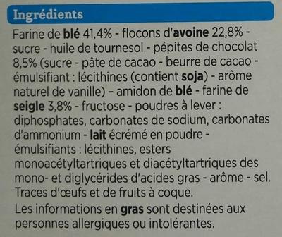 Biscuits petit déjeuner céréales et pépites de chocolat allégés en sucres - Ingrédients