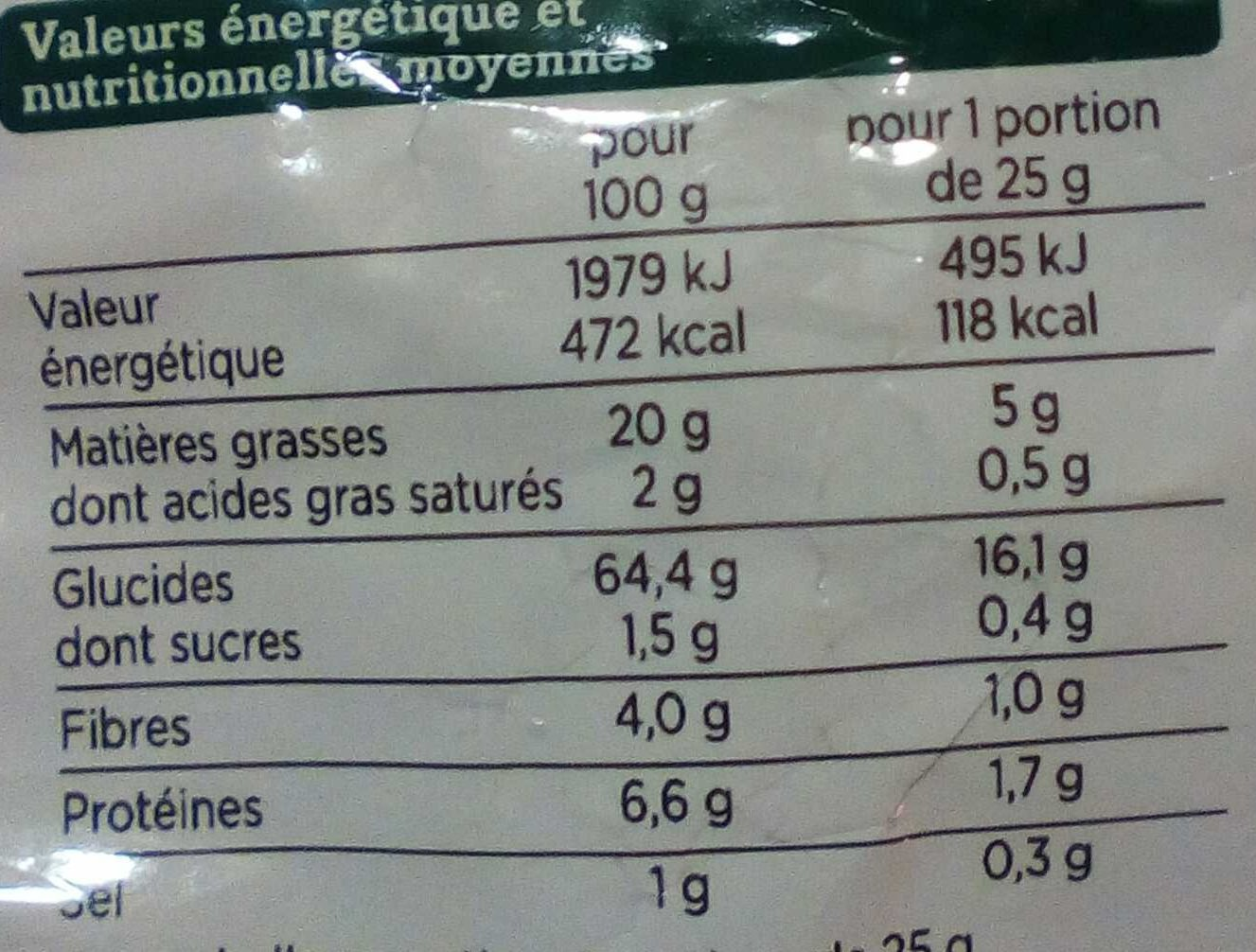 Tortillas Natures - Informations nutritionnelles