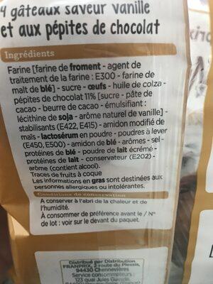 Muffin Goût Vanille - Ingrédients