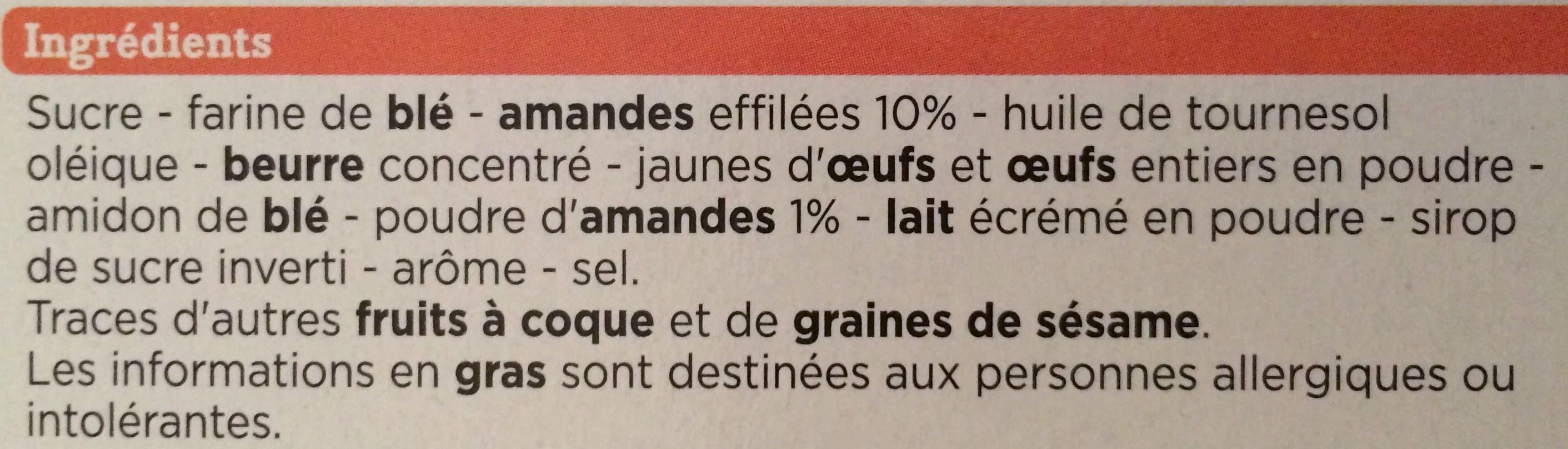Tuiles aux amandes - Ingrédients - fr