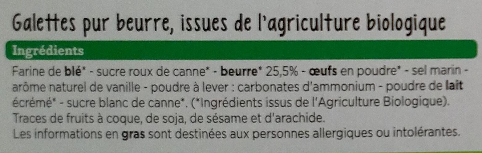 Galettes pur beurre Bio - Ingredients