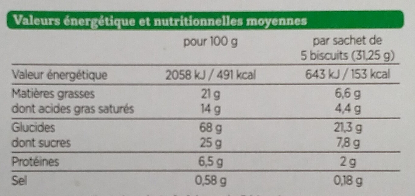 Galettes pur beurre Bio - Nutrition facts