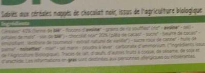 Sablés céréales chocolat noir - Ingredients - fr