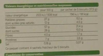 Sablés céréales chocolat noir - Nutrition facts
