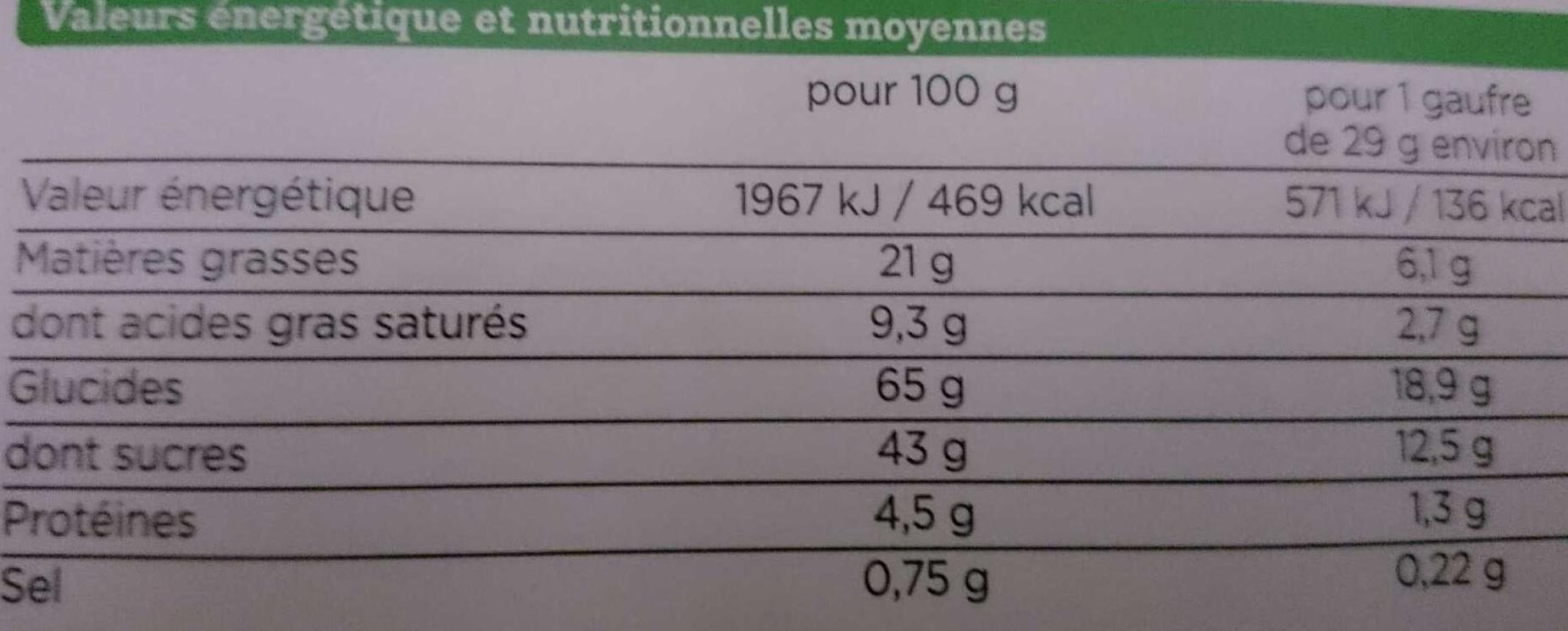 Gaufres au Miel Bio à la Farine d'Épeautre - Valori nutrizionali - fr