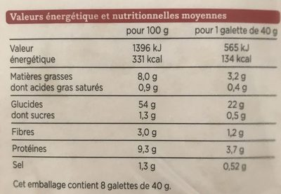 Tortillas de blé - Informations nutritionnelles