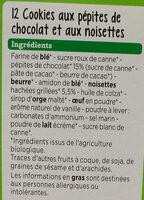 Cookies Noisette Chocolat Bio - Ingredients