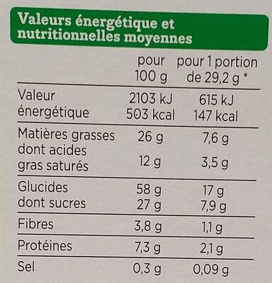 Cookies Noisette Chocolat Bio - Nutrition facts