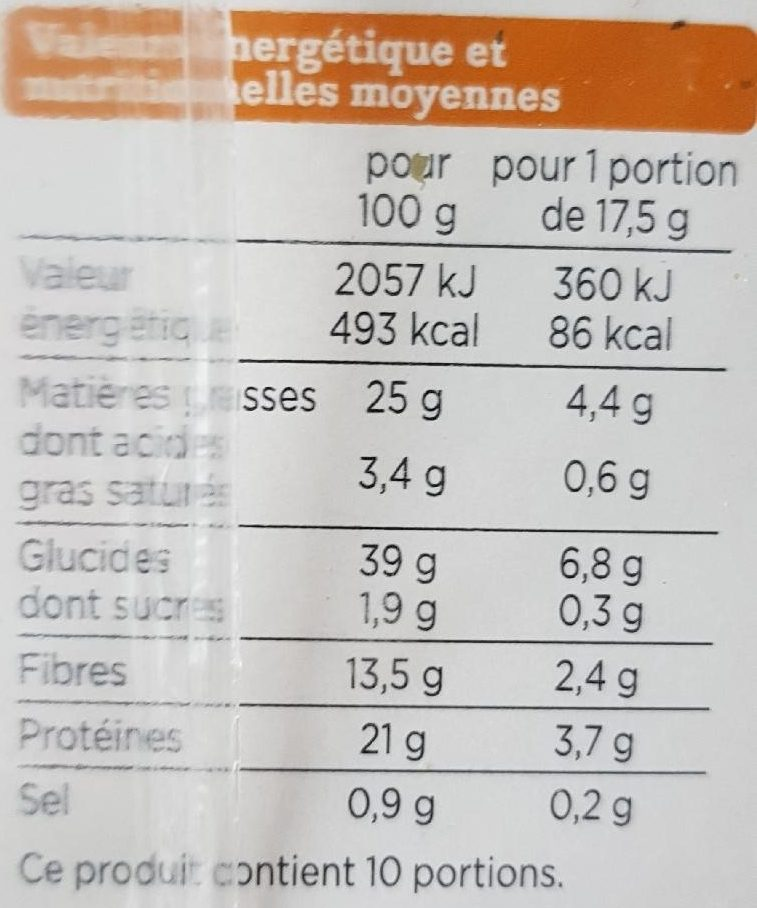Crackers graines de courge, lin et sésame - Nutrition facts