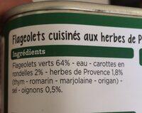 Flageolets cuisinés - Ingrédients