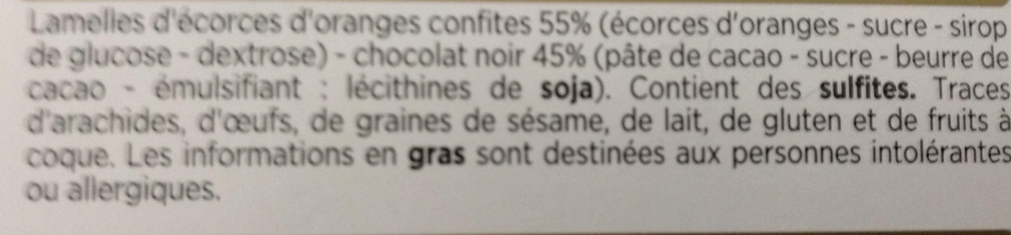 Orangettes enrobées de chocolat noir - Ingredienti - fr