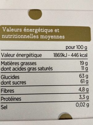 Orangettes enrobées de chocolat noir - Valori nutrizionali - fr