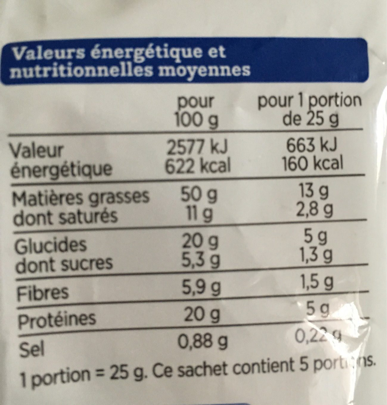Noix de Cajou - Nutrition facts