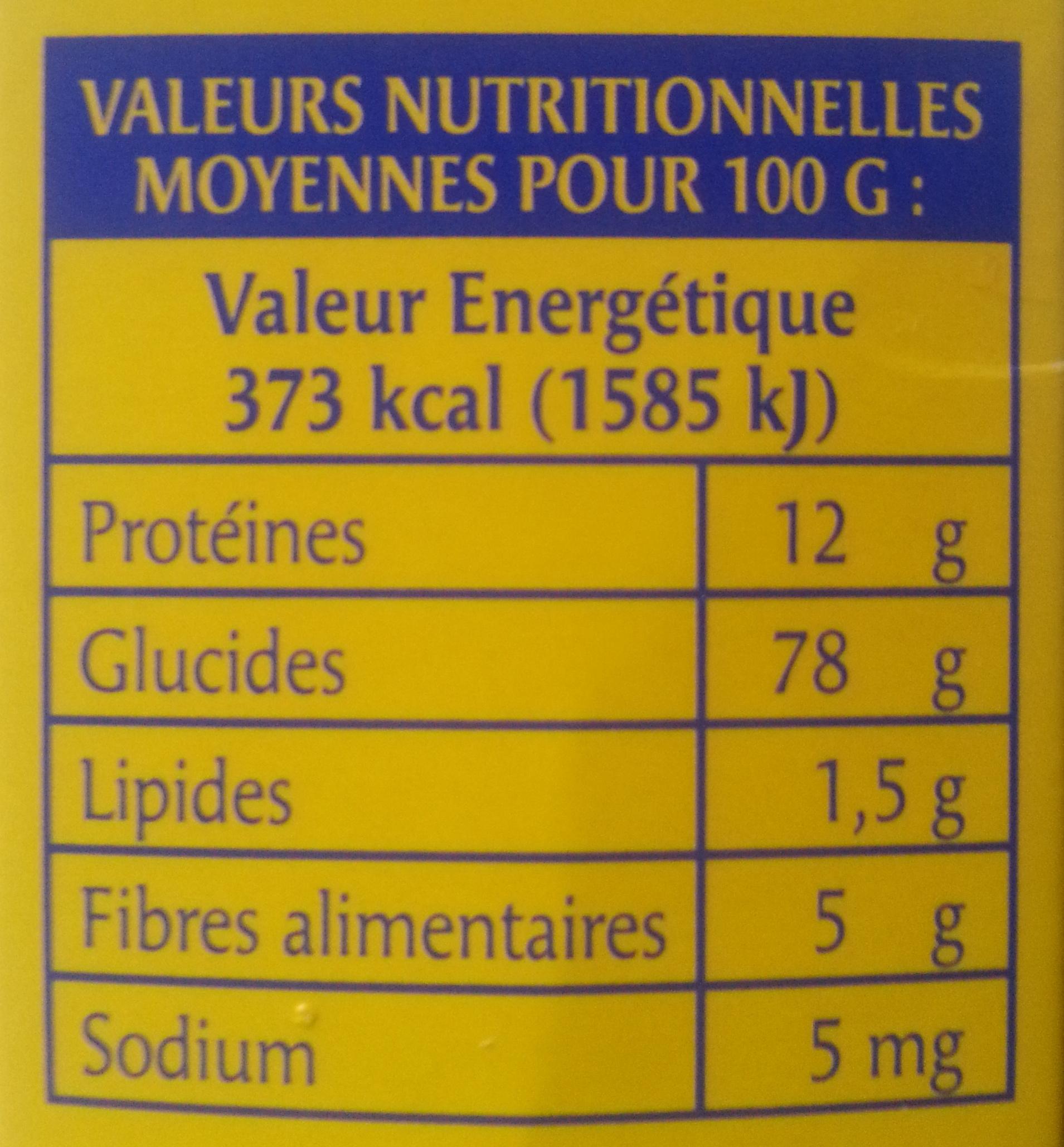 Blé précuit - Informations nutritionnelles