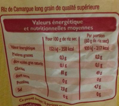 Riz De Camargue long grain - Voedingswaarden - fr