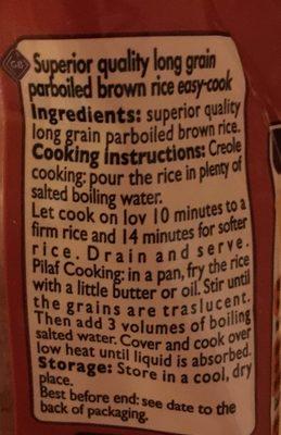 Riz Complet Étuvé - Ingredienti - fr