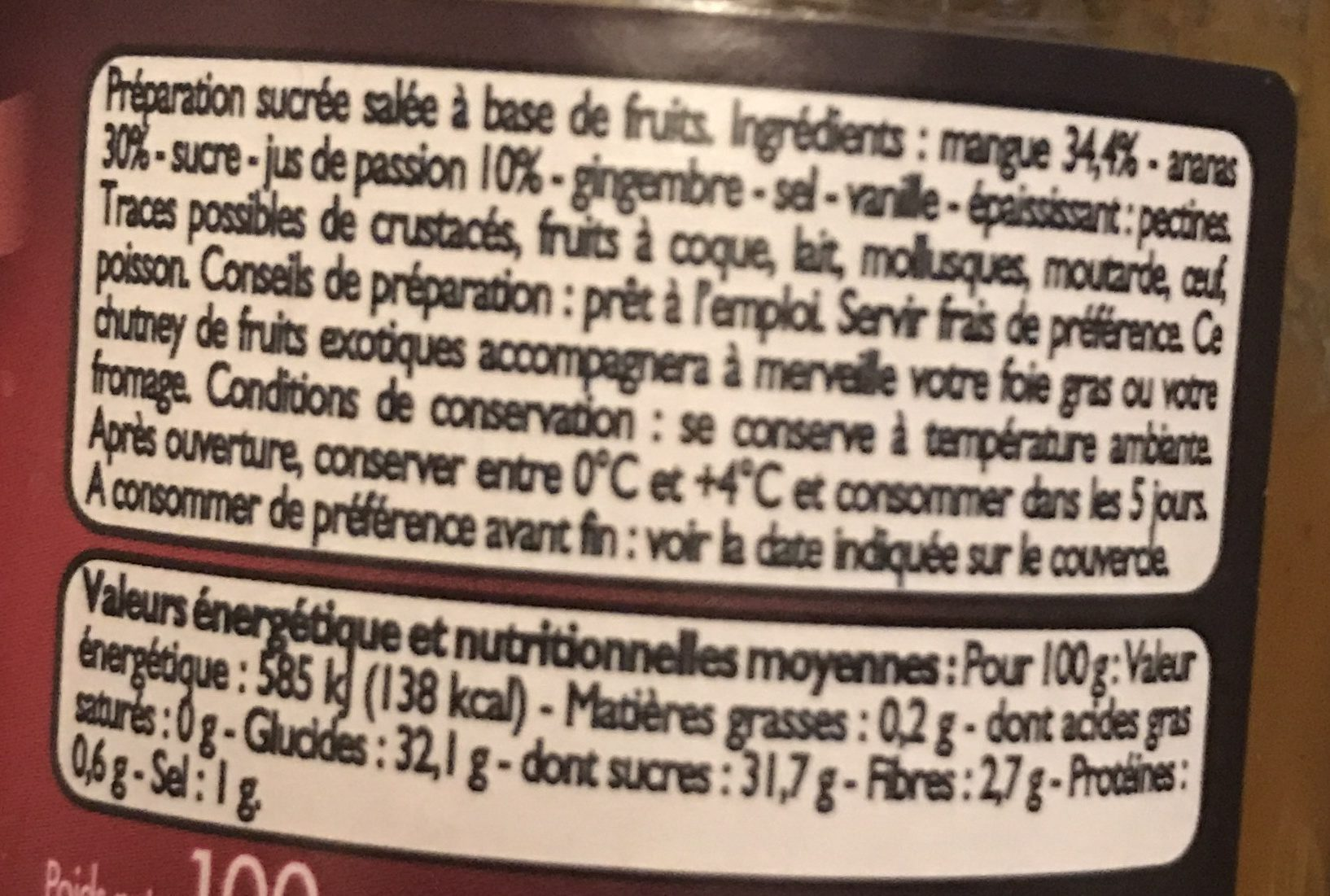 Chutney mangue ananas passion - Ingrédients - fr