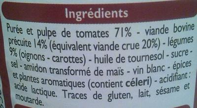 Sauce tomate cuisinée à la viande de boeuf - Ingredienti - fr