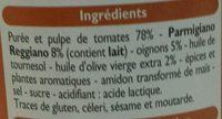 Sauce Parmesan - Ingredientes