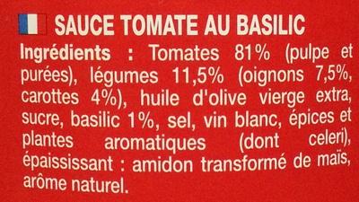 Sauce Provençale au Basilic - Ingrédients