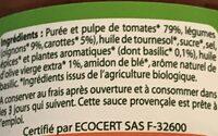 Sauce tomate provencale bio - Ingredienti - fr