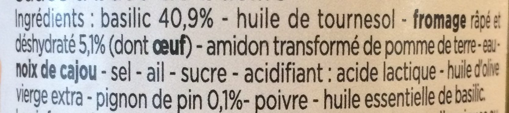 Sauce pesto vert - Ingredients - fr