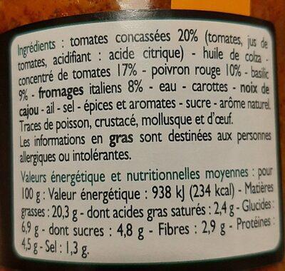 Sauce Pesto Risso - Voedingswaarden - fr