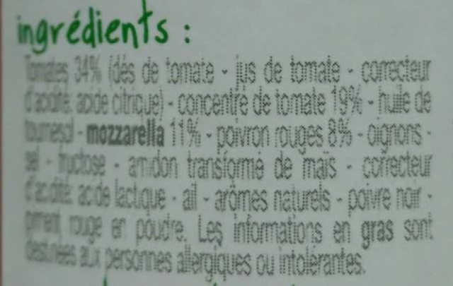 Sauce Tomate Poivron Mozzarella - Ingrédients