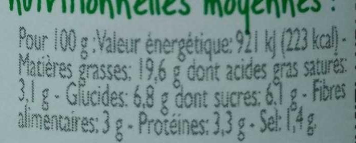 Sauce Tomate Poivron Mozzarella - Informations nutritionnelles