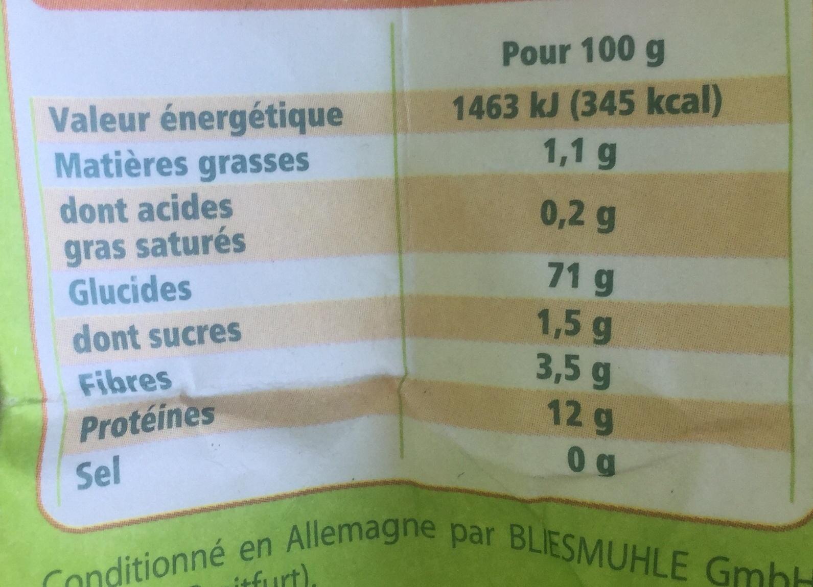 farine de blé bio - Nutrition facts - fr