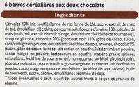 Barre céréales, chocolat noir - Ingrediënten