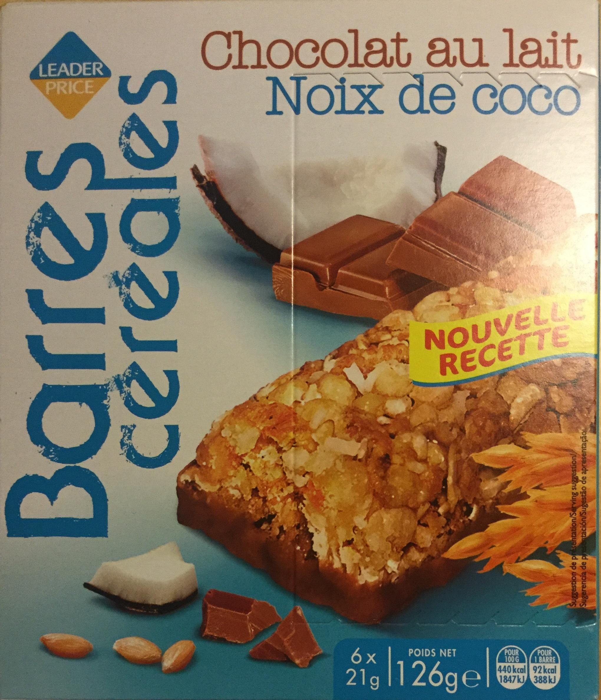 Barres cereales - chocolat au lait - noix de coco - Product