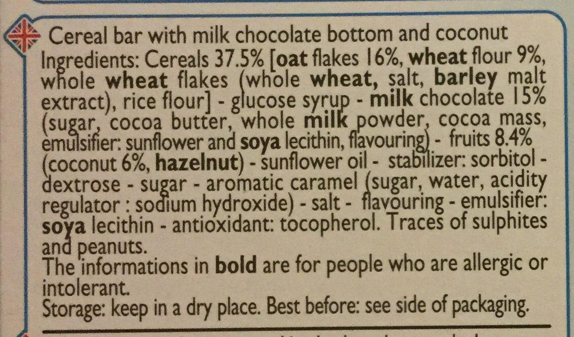 Barres cereales - chocolat au lait - noix de coco - Ingredients
