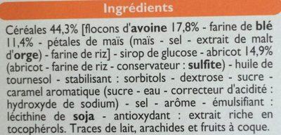 Barres céréales Abricot - Ingrédients - fr