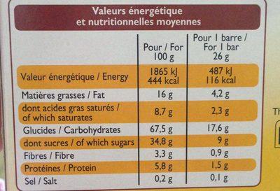 Barre de Céréales Chocolat au lait Banane - Informations nutritionnelles - fr