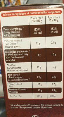 Cacao non sucré - Informação nutricional - fr