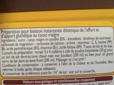 Leader Quick - Poudre instantanée cacaotée - Ingredienti - fr