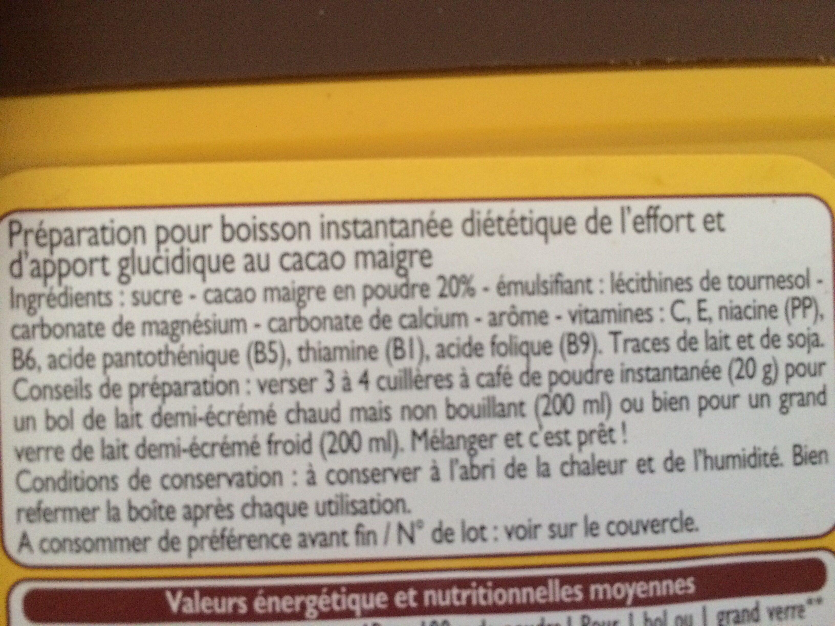 Poudre instantanée cacaotée Leader Quick - Ingrédients - fr