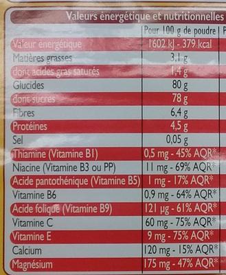 Poudre instantanée cacaotée Leader Quick - Informations nutritionnelles - fr