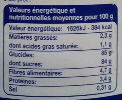 Chocolat en Poudre - Voedingswaarden