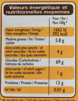 Quinoa blanc - Nutrition facts