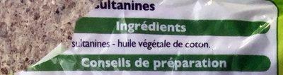 Raisins sultanines - Ingrédients - fr