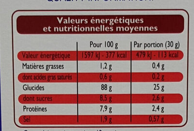 Corn Flakes - Pétales de Maïs - Nutrition facts - fr